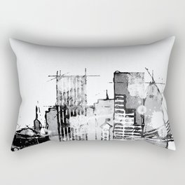 Black and white watercolor Portland skyline Rectangular Pillow