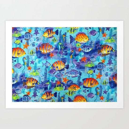 Underwater cartoon cute pattern Art Print