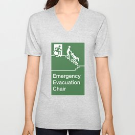 Accessible Means of Egress Icon, Emergency Evacuation Chair Sign Unisex V-Neck