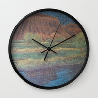 garfield Wall Clocks featuring Mt. Garfield and Reflection by Brusling