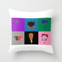 gotham Throw Pillows featuring Gotham Villains by Crayle Vanest
