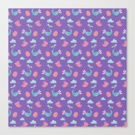 Modern green pink violet hand drawn birds pattern Canvas Print