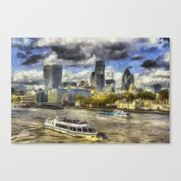 The River Thames And City Art Canvas Print