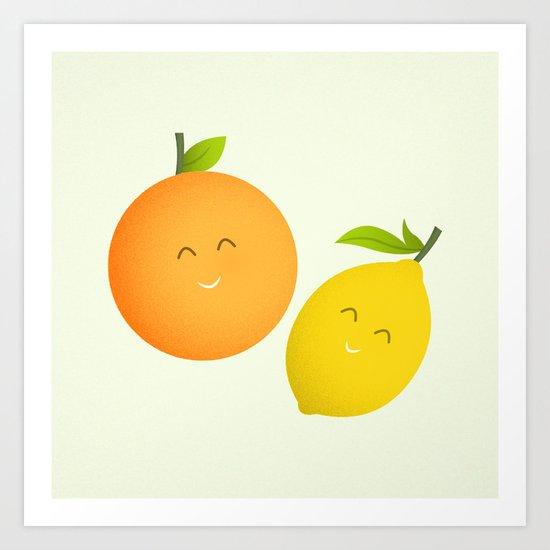 Happy Orange and Lemon Art Print