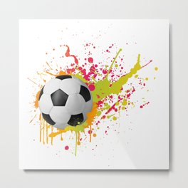 Football design with colorful splashes Metal Print