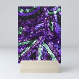 Violet Purple Mint Green Sequin Sparkle Mini Art Print