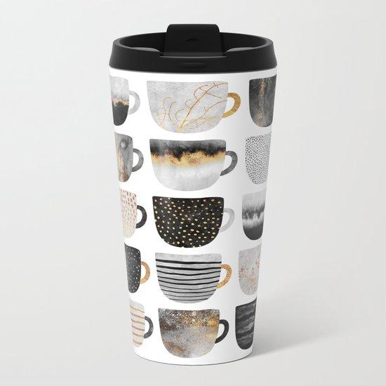Pretty Coffe Cups 3 - White Metal Travel Mug