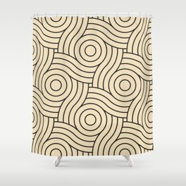 Circle Swirl Pattern Light Yellow, Inspired By Valspar America Wood Yellow - Homey Cream - Glow Home Shower Curtain