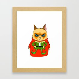 Ginger Cat in Holiday Sweater 05 Framed Art Print