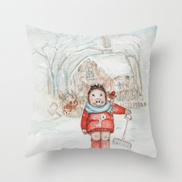 Winter Chores Can Be Fun  Throw Pillow