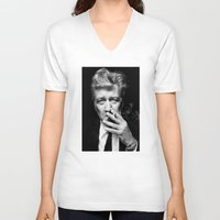 lynch V-neck T-shirts featuring David Lynch by Tia Hank