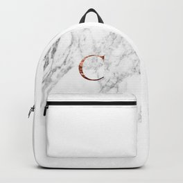 Monogram rose gold marble C Backpack
