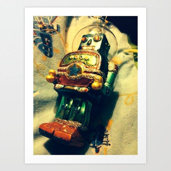 Vintage Christmas Robot Art Print