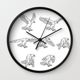 Bald Eagle Flying Drawing Collection Set Wall Clock