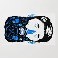 beard Area & Throw Rugs featuring Pirate Beard by David Penela