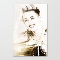 miley cyrus Canvas Prints featuring Miley Cyrus by Ylenia Pizzetti