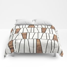 Mid-Century Modern Pattern No.4 - Concrete and Wood Comforters