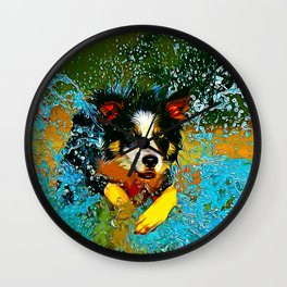 border collie jumping in water vector art Wall Clock