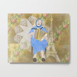 Woman Playing the Accordion Metal Print