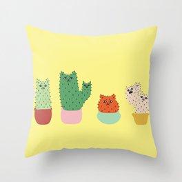 Catcus - Yellow Theme Throw Pillow