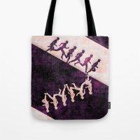 run Tote Bags featuring run by KrisLeov