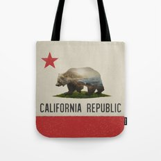 California Grizzly Bear Flag Tote Bag