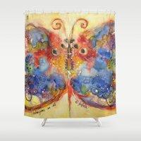 ali gulec Shower Curtains featuring Astrazioni su ali di farfalla by Alessandro Andreuccetti