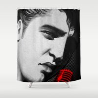 elvis presley Shower Curtains featuring Elvis Presley-BnW by sarvesh