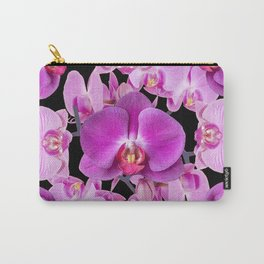 Modern  Ornate Pink & Purple  Moth Orchids Black Colored Art Carry-All Pouch