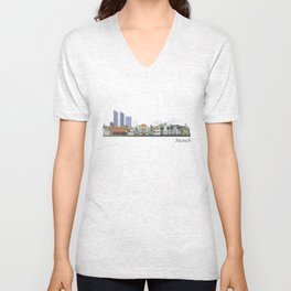 Munich skyline colored Unisex V-Neck