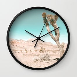 Vintage Desert Scape // Cactus Nature Summer Sun Landscape Photography Wall Clock