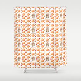 Watercolour Pumpkin Turkey Pattern Happy Thanksgiving Shower Curtain