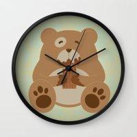 teddy bear Wall Clocks featuring Teddy Bear by EinarOux