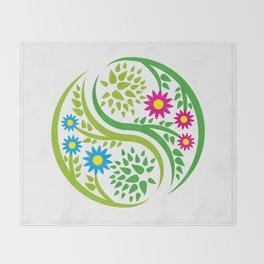 Yin Yang Flower Throw Blanket