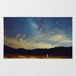 Milky Way Star Night Sky Over Wheat Field Magical Landscape Rug