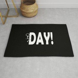 Hump Day - Humping Stickman Sarcasm Humor White Typography Rug