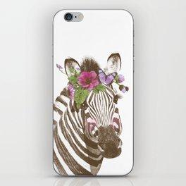 Zebra with flowers iPhone Skin