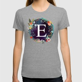 Personalized Monogram Initial Letter E Floral Wreath Artwork T-shirt