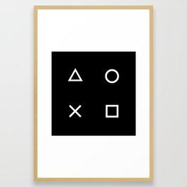 Gamer Pattern (White on Black) Framed Art Print