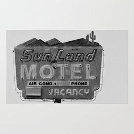 Vintage Neon Sign In Tucson - Sun Land Motel Rug