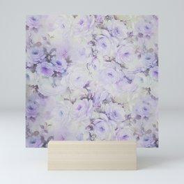 Vintage lavender gray botanical roses floral Mini Art Print