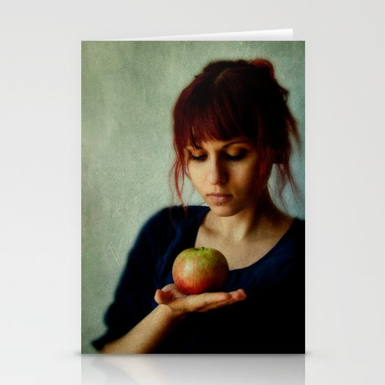 the girl with the apple Stationery Cards