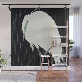 Ohara Koson - Egret in the rain Wall Mural
