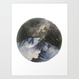 Starry mountain Sky Art Print