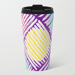 Purple Pattern with White Lines and Colors Circles Travel Mug