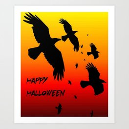 Happy Halloween Murder of Crows  Art Print