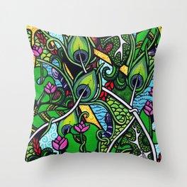 Peacock Paradise Throw Pillow