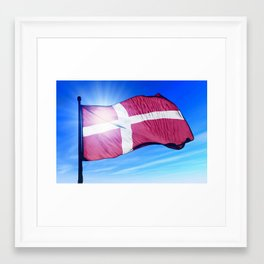 Denmark flag waving on the wind Framed Art Print