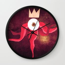 Red King Octopus Wall Clock