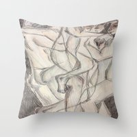 cuddle Throw Pillows featuring Cuddle  by Melissa Roberts